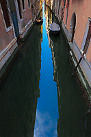 The streets of Venice, Italy.  At mid-day there was no light being reflected off of the building walls which is the generally preferred lighting for photography.  However, the bright blur sky was reflected in one of the many canals.