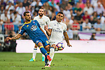 Jonathan Castro Otto of RC Celta de Vigo (l) battles for the ball with Carlos Henrique Casemiro of Real Madrid during their La Liga match at the Santiago Bernabeu Stadium between Real Madrid and RC Celta de Vigo on 27 August 2016 in Madrid, Spain. Photo by Diego Gonzalez Souto / Power Sport Images