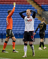 Bolton Wanderers' Ali Crawford rues a near miss <br /> <br /> Photographer Andrew Kearns/CameraSport<br /> <br /> The EFL Sky Bet League Two - Bolton Wanderers v Oldham Athletic - Saturday 17th October 2020 - University of Bolton Stadium - Bolton<br /> <br /> World Copyright © 2020 CameraSport. All rights reserved. 43 Linden Ave. Countesthorpe. Leicester. England. LE8 5PG - Tel: +44 (0) 116 277 4147 - admin@camerasport.com - www.camerasport.com