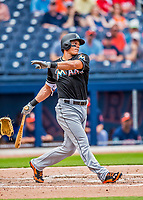 1 March 2017: Miami Marlins outfielder Derek Dietrich in Spring Training action against the Houston Astros at the Ballpark of the Palm Beaches in West Palm Beach, Florida. The Marlins defeated the Astros 9-5 in Grapefruit League play. Mandatory Credit: Ed Wolfstein Photo *** RAW (NEF) Image File Available ***
