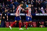 Alvaro Morata (L) and Angel Martin Correa (R) of Atletico de Madrid celebrate goal during La Liga match between Atletico de Madrid and RCD Espanyol at Wanda Metropolitano Stadium in Madrid, Spain. November 10, 2019. (ALTERPHOTOS/A. Perez Meca)