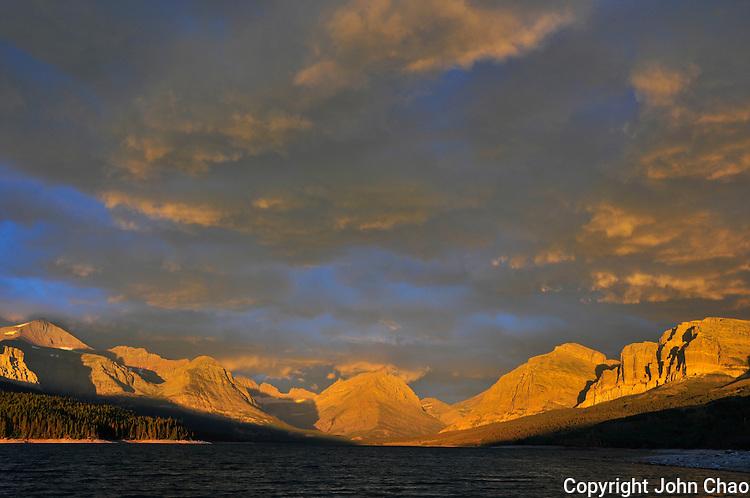 Sunrise at Many Glacier area, Lake Sherburne, Glacier National Park.