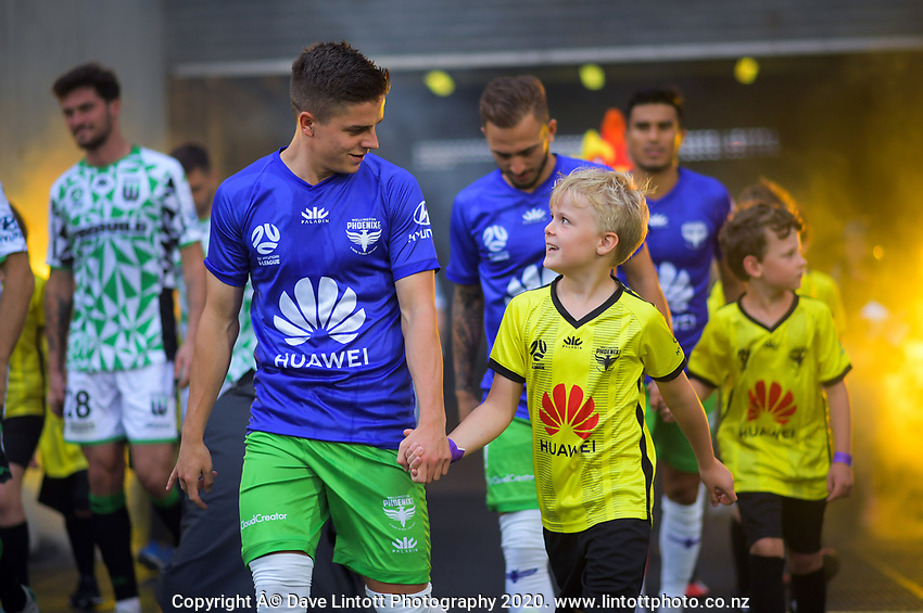 Phoenix' Cameron Devlin walks out for the A-League football match between Wellington Phoenix and Western United FC at Sky Stadium in Wellington, New Zealand on Friday, 21 February 2020. Photo: Dave Lintott / lintottphoto.co.nz