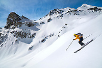 Skiing into the Turtmanntal from Val d'Anniviers, Switzerland