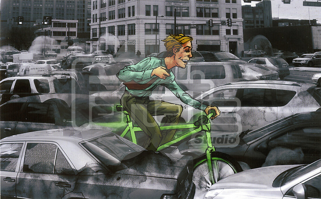 Illustrative image of man riding green bicycle through heavy traffic