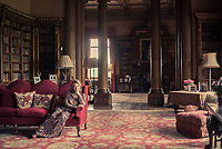 The Countess of Carnarvon in the library at Highclere