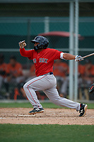 Boston Red Sox Jonathan Ortega (11) bats during a Minor League Spring Training game against the Baltimore Orioles on March 20, 2019 at the Buck O'Neil Baseball Complex in Sarasota, Florida.  (Mike Janes/Four Seam Images)
