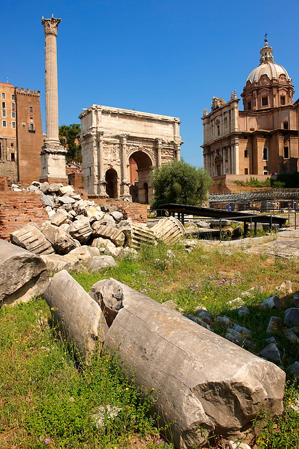 fallen columns looking towards the Arch of Septimius Severus, The Forum Rome