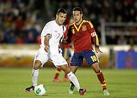 Spain's Thiago Alcantara (r) and Norway's Singh during international sub21 match.March 21,2013. (ALTERPHOTOS/Acero) /NortePhoto