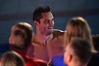 Florent Manaudou France, Energy Standard celebrates the victory of his team <br /> Men's 50m Freestyle Skin Race <br /> Napoli 12-10-2019 Piscina Felice Scandone <br /> ISL International Swimming League <br /> Photo Andrea Staccioli/Deepbluemedia/Insidefoto