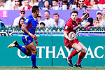 Tomi Lewis of Wales (R) in action during the HSBC Hong Kong Sevens 2018 Shield Final match between Samoa and Wales on April 8, 2018 in Hong Kong, Hong Kong. Photo by Marcio Rodrigo Machado / Power Sport Images