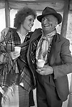 Appleby in Westmorland traditional annual gypsy Horse Fair Cumbria. 1981 Folksinger known as Egypt and her friend in the beer tent.