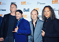 29 August 2020 - Heavy-metal icons Metallica (James Hetfield, Robert Trujillo, Lars Ulrich and Kirk Hammett) rocks virtual concert at drive-in theaters across the United States and Canada. File Photo: 2013 Toronto International Film Festival, Toronto, Ontario, Canada. Photo Credit: Brent Perniac/AdMedia