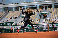28th September 2020, Roland Garros, Paris, France; French Open tennis, Roland Garros 2020;   Serena WILLIAMS USA plays a forehand during her match against Kristie AHN USA in the Philippe Chatrier court on the first round of the French Open