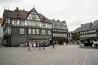 Goslar: Marktplatz and Fountain. The gray walls are of slate shingles.