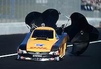 Nov. 11, 2012; Pomona, CA, USA: NHRA funny car driver Jeff Arend during the Auto Club Finals at at Auto Club Raceway at Pomona. Mandatory Credit: Mark J. Rebilas-