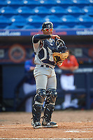 Brevard County Manatees catcher Fidel Pena (18) during a game against the St. Lucie Mets on April 17, 2016 at Tradition Field in Port St. Lucie, Florida.  Brevard County defeated St. Lucie 13-0.  (Mike Janes/Four Seam Images)