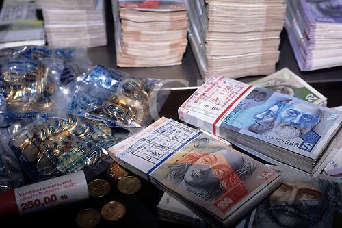 Slovakia. Koruna currency bank notes and coins.