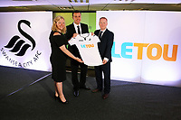 Pictured: Paul Fox, CEO of Letou with Disability Sport Wales and Shelter Cymru representatives. Monday 19 June 2017<br /> Re: Swansea City FC launch their new home and away kits and announce Letou as their new sponsor at the Liberty Stadium, Swansea, Wales, UK.