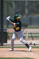 Oakland Athletics outfielder JaVon Shelby (35) at bat during an Extended Spring Training game against the San Francisco Giants Orange at the Lew Wolff Training Complex on May 29, 2018 in Mesa, Arizona. (Zachary Lucy/Four Seam Images)