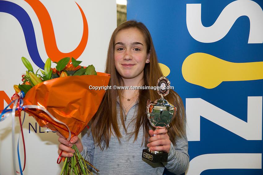 Rotterdam, The Netherlands, March 20, 2016,  TV Victoria, NOJK 14/18 years, Runner up girls 14 years: Julie Belgraver (NED)<br /> Photo: Tennisimages/Henk Koster