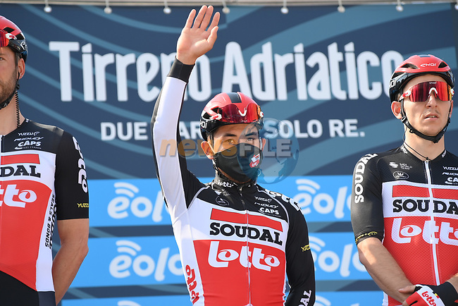 Caleb Ewan (AUS) Lotto-Soudal at sign on before the start of Stage 1 of Tirreno-Adriatico Eolo 2021, running 156km from Lido di Camaiore to Lido di Camaiore, Italy. 10th March 2021. <br /> Photo: LaPresse/Gian Mattia D'Alberto | Cyclefile<br /> <br /> All photos usage must carry mandatory copyright credit (© Cyclefile | LaPresse/Gian Mattia D'Alberto)