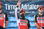 Caleb Ewan (AUS) Lotto-Soudal at sign on before the start of Stage 1 of Tirreno-Adriatico Eolo 2021, running 156km from Lido di Camaiore to Lido di Camaiore, Italy. 10th March 2021. <br /> Photo: LaPresse/Gian Mattia D'Alberto   Cyclefile<br /> <br /> All photos usage must carry mandatory copyright credit (© Cyclefile   LaPresse/Gian Mattia D'Alberto)