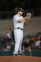 Salt River Rafters pitcher Javier Salas (51), of the Milwaukee Brewers organization, during a game against the Scottsdale Scorpions on October 12, 2016 at Scottsdale Stadium in Scottsdale, Arizona.  Salt River defeated Scottsdale 6-4.  (Mike Janes/Four Seam Images)