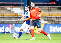 21st November 2020; Kenilworth Road, Luton, Bedfordshire, England; English Football League Championship Football, Luton Town versus Blackburn Rovers; Sonny Bradley of Luton Town passing back to keeper