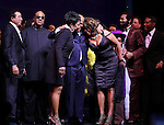 Smokey Robinson, Gladys Knight, Stevie Wonder, Berry Gordy, Mary Wilson, Valisia LeKae, Brandon Victor Dixon,  & Company  during the Broadway Opening Night Performance Curtain Call for 'Motown The Musical'  at the Lunt Fontanne Theatre in New York City on 4/14/2013..
