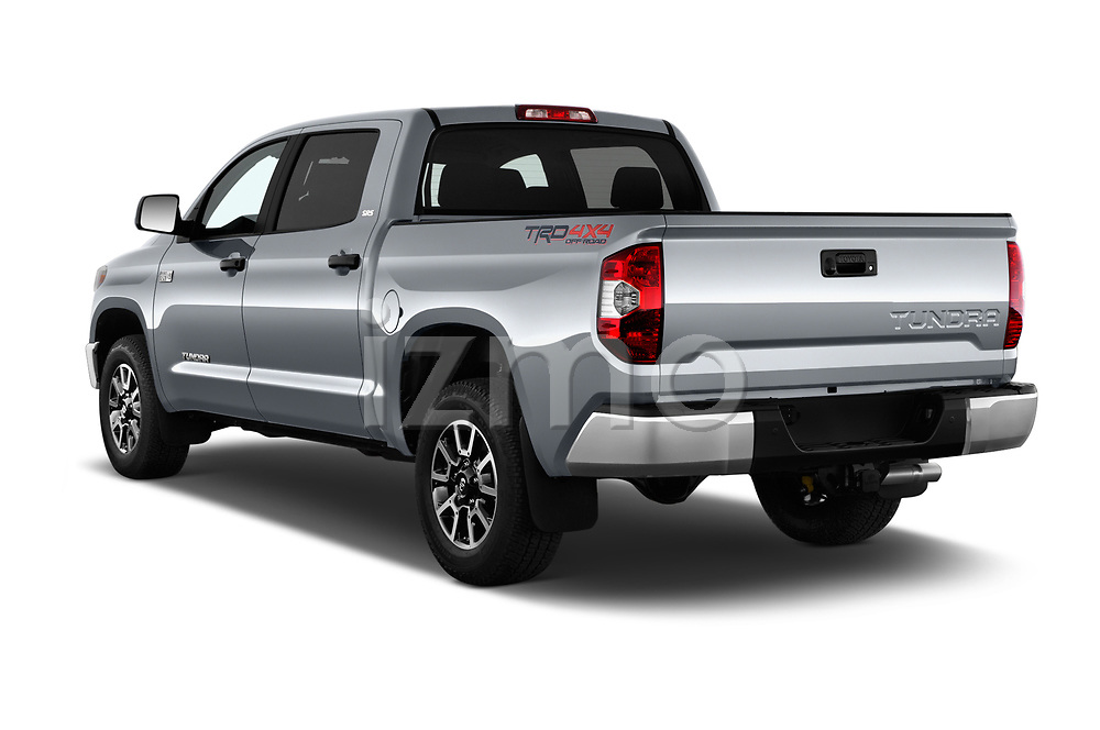 Car pictures of rear three quarter view of a 2018 Toyota Tundra SR5 5.7L Crew Max 4WD Short Bed 4 Door Pick Up angular rear