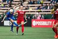 Seattle, WA - Saturday May 13, 2017: Line Sigvardsen-Jensen and Megan Rapinoe during a regular season National Women's Soccer League (NWSL) match between the Seattle Reign FC and the Washington Spirit at Memorial Stadium.
