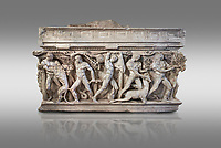 """Side panel of a Roman relief sculpted Hercules sarcophagus with kline couch lid, """"Columned Sarcophagi of Asia Minor"""" style typical of Sidamara, 250-260 AD, Konya Archaeological Museum, Turkey. Against a grey background"""