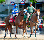 July 5, 2021: Gershwin, ridden by Luis Saez, during the post parade prior to the 2021 running of the G3 Dwyer S. at Belmont Park in Elmont, NY. Sophie Shore/ESW/CSM