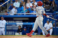 Clearwater Threshers Cornelius Randolph (2) hits a home run during a game against the Dunedin Blue Jays on April 8, 2017 at Florida Auto Exchange Stadium in Dunedin, Florida.  Dunedin defeated Clearwater 12-6.  (Mike Janes/Four Seam Images)