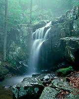 Doyle Rriver Falls in the fog; Shenandoah National Park, VA