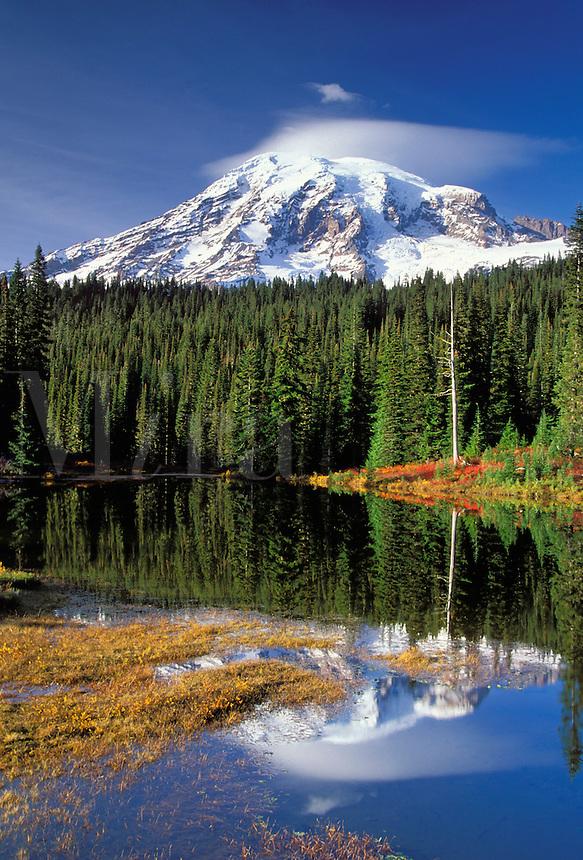 Mount Rainier reflection on Reflection Lakes in autumn, Reflection Lakes, Mount Rainier National Park, Lewis County, W