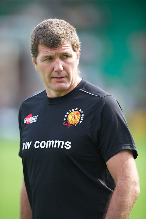 Rob Baxter, Exeter Chiefs Head Coach, during the Aviva Premiership match between Northampton Saints and Exeter Chiefs at Franklin's Gardens on Sunday 9th September 2012 (Photo by Rob Munro)
