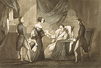 Spain (1832). Fernando VII delivering to María Cristina the Decree of 6th October 1832, that revoked the Pragmatic Sanction an
