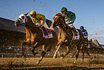 AUG 24: Code of Honor with John Velazquez aboard races through the kickback in the Travers Stakes races at Saratoga Racecourse in New York on August 24, 2019. Evers/Eclipse Sportswire/CSM