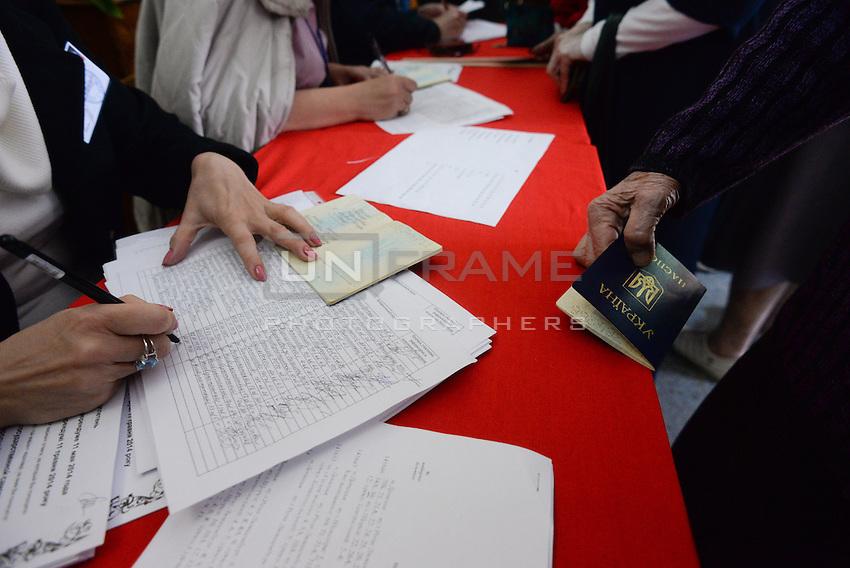 Members of the regional election commission log the votes of Donetsk citizens. Donetsk region and Lugansk vote for separation of the Eastern Ukraine. Donetsk, Ukraine.