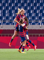 SAITAMA, JAPAN - JULY 24: Lindsey Horan #9 of the USWNT, Tobin Heath #7 of the USWNT and Rose Lavelle #16 of the USWNT celebrate Lavelle's goal during a game between New Zealand and USWNT at Saitama Stadium on July 24, 2021 in Saitama, Japan.