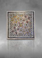 Roman mosaics - Geometric Mosaic. House of Okeanos, Ancient Zeugama, 2nd - 3rd century AD . Zeugma Mosaic Museum, Gaziantep, Turkey.  Against a grey background.