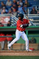 Batavia Muckdogs Samuel Castro (15) bats during a NY-Penn League game against the Auburn Doubledays on June 14, 2019 at Dwyer Stadium in Batavia, New York.  Batavia defeated 2-0.  (Mike Janes/Four Seam Images)