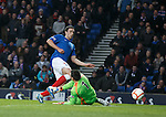 Lee Wallace scores the opening goal for Rangers under Clyde keeper Jamie Barclay