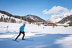 Austria, Tyrol, Hochfilzen, district Warming: Warming cross-country ski run between St. Ulrich am Pillersee and Hochfilzen, part of Hochfilzen Cross-Country and Biathlon Center | Oesterreich, Tirol, Hochfilzen, Ortsteil Warming: die Warmingloipe, Teil des Langlauf- und Biathlonzentrums  Hochfilzen