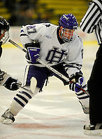 30 December 2007: Holy Cross Crusaders' forward Ryan Driscoll, a Sophomore from Dorchester, MA, in action against the Western Michigan University Broncos at Gutterson Fieldhouse in Burlington, Vermont. The teams skated to a 1-1 tie, however the Broncos took the consolation game in a 2-0 shootout to win the third game of the Sheraton/TD Banknorth Catamount Cup Tournament...Mandatory Photo Credit: Ed Wolfstein Photo