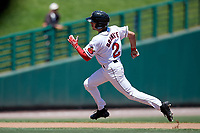 Rochester Red Wings center fielder Zack Granite (2) running the bases during a game against the Scranton/Wilkes-Barre RailRiders on June 7, 2017 at Frontier Field in Rochester, New York.  Scranton defeated Rochester 5-1.  (Mike Janes/Four Seam Images)
