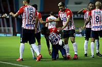 BARRANQUILLA - COLOMBIA, 23-02-2021: XXXXXXXX de Atletico Junior, corre a celebrar el gol anotado de su equipo a Millonarios F. C., durante partido entre Atletico Junior y Millonarios F. C., de la fecha 9 por la Liga BetPlay DIMAYOR I 2021 jugado en el estadio Metropolitano Roberto Melendez de la ciudad de Barranquilla. / XXXXXXXX of Atletico Junior runs to celebrate the scored goal from his team to Millonarios F. C., during a match between Atletico Junior and Millonarios F. C. of the 9th date for BetPlay DIMAYOR I 2021 League played at the Metropolitano Roberto Melendez Stadium in Barranquilla city. / Photo: VizzorImage / Jairo Cassiani / Cont.