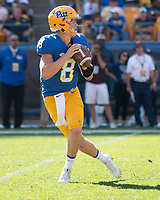 Pitt quarterback Kenny PIckett. The North Carolina Wolfpack defeated the Pitt Panthers 35-17 at Heinz Field, Pittsburgh, PA on October 14, 2017.